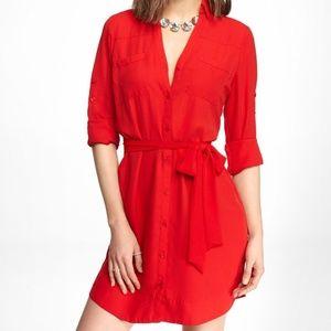 Express Red Portofino Shirt Dress